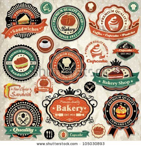 Vintage retro grunge bakery, cupcake, sandwich labels, badges and icons by Donnay Style, via ShutterStock