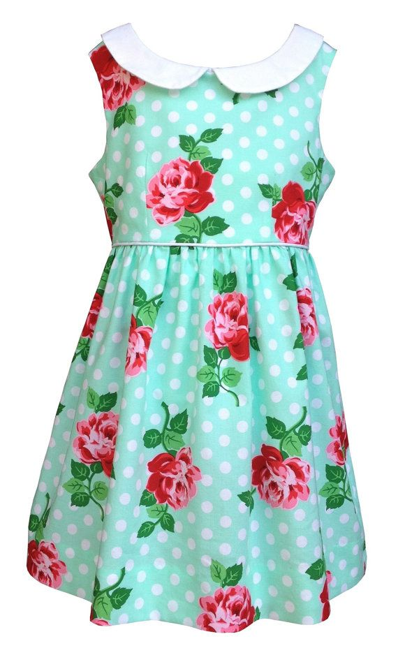 girls dress pattern, pdf pattern, girls dress,  summer dress, vintage inspired, peter pan collar, Michael Miller fabrics, The Freckled Pear,  Vintage Kate Dress