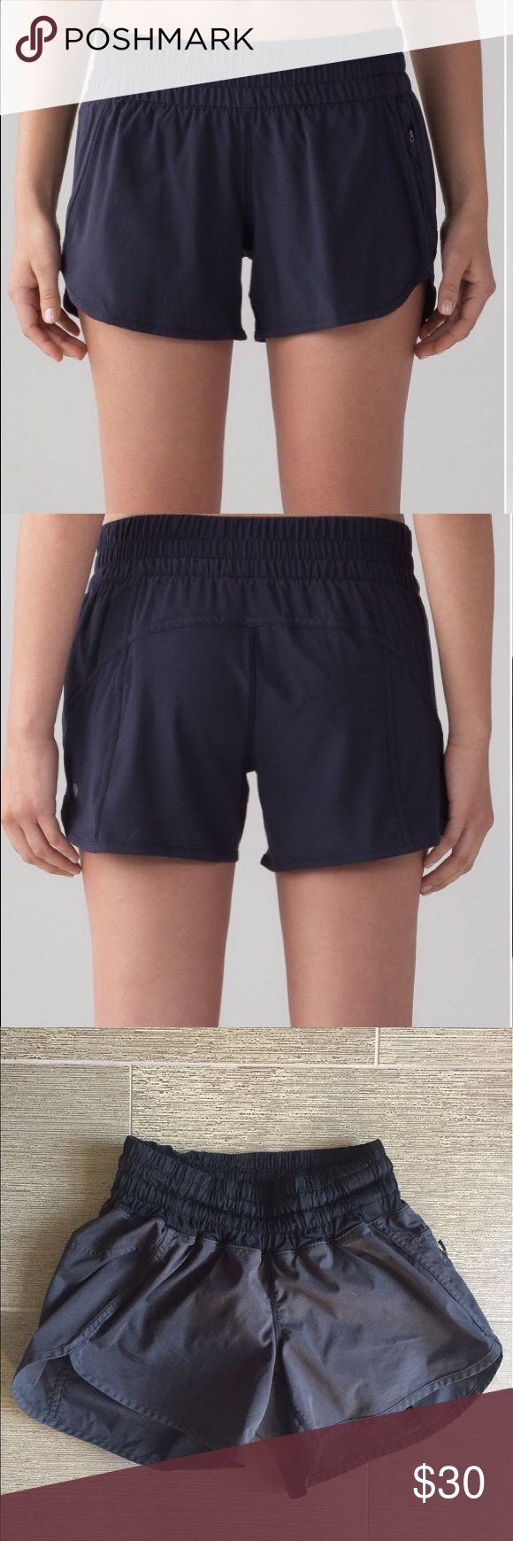 Lululemon black shorts Lululemon run for the hills roomy run shorts. Four way stretch, sweat wicking and lightweight. These shorts are lined and have a side zip pocket. Perfect for running or working out. There are some stains on the front right. Please see pictures. I think it's paint. Sold as is. Stock photos for reference only. Still have a lot of life in them. Stains are not noticeable unless you are close up lululemon athletica Shorts