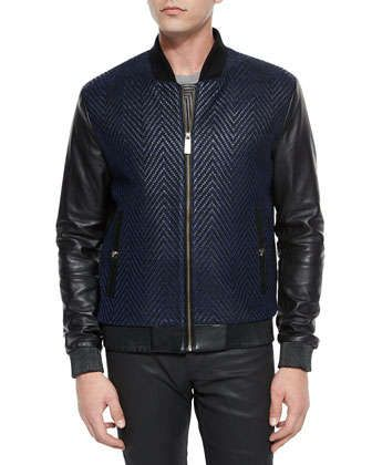Textured Chevron Jacket with Leather Sleeves & Baroque-Painted Tee by Versace Collection at Neiman Marcus.