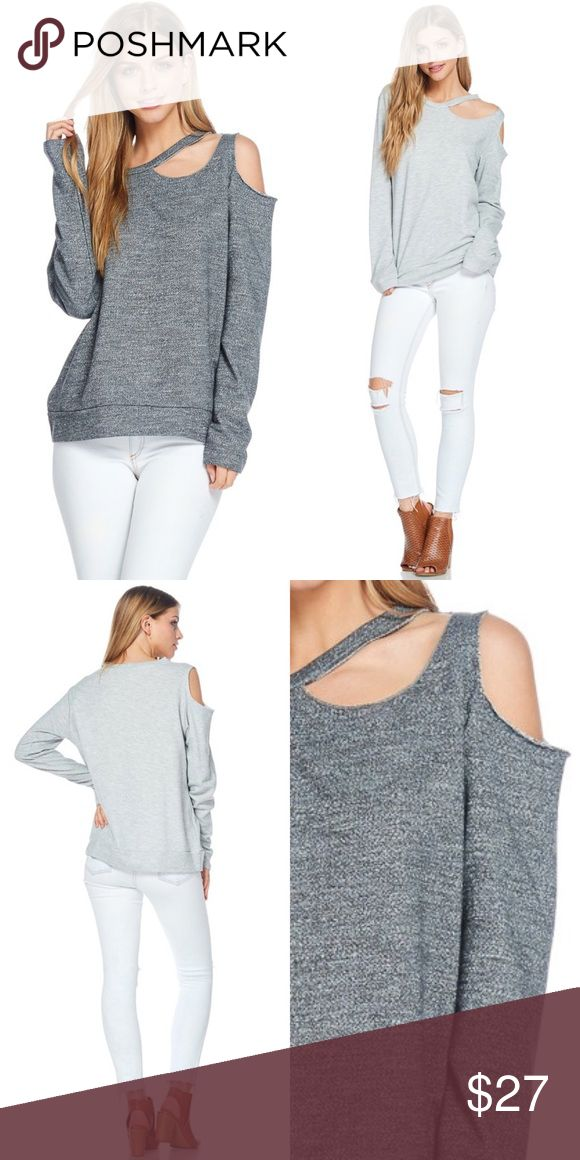 """InDaLoop Charcoal One Shoulder Cut Out LS InDaLoop French Terry Frayed Hem One Shoulder Cut Out Long Sleeve Comfy & Soft Sweatshirt in a very pretty shade of Charcoal.            Model Wearing: S NWOT Fit: Relaxed  Measurements Laying Flat: Armpit to Armpit 21"""" Length: 24 1"""" inch difference  between Sizes in Length .5"""" inch difference  between sizes in Pit to Pit  Material: Cotton / Polyester  Made in the U.S.A Tops Sweatshirts & Hoodies"""