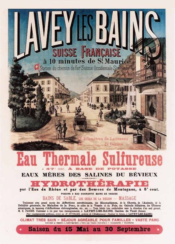 """1890 """"Lavey-les-Bains, hot sulphurous water, hydrotherapy"""". A famous Spa at 10 minutes from St-Maurice in the """"French Switzerland"""", vintage travel poster"""