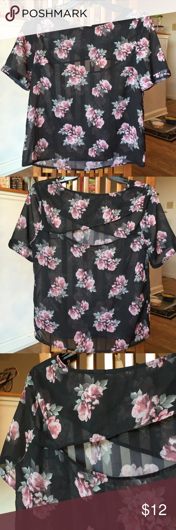 Sheer Floral Top 🌸 Great floral top with back cut out! Excellent condition! A bit sheer but great for clubs/parties or wearing with a nude cami 🌸 Tops Blouses