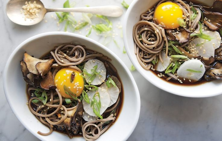 This soup is trendy ramen's healthier sibling: The buckwheat in soba is nutritious and a good source of fiber (in a flavorful maitake mushroom soy broth, too).