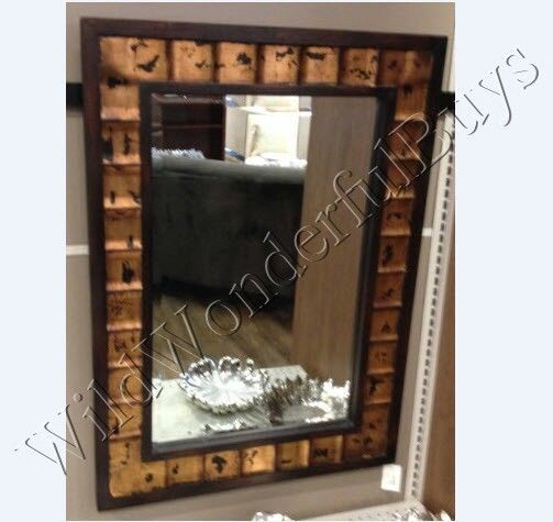 Mediterranean Wall Mirror Wood Rectangle Beveled Gold Large Tuscan Moroccan #na #Mediterranean