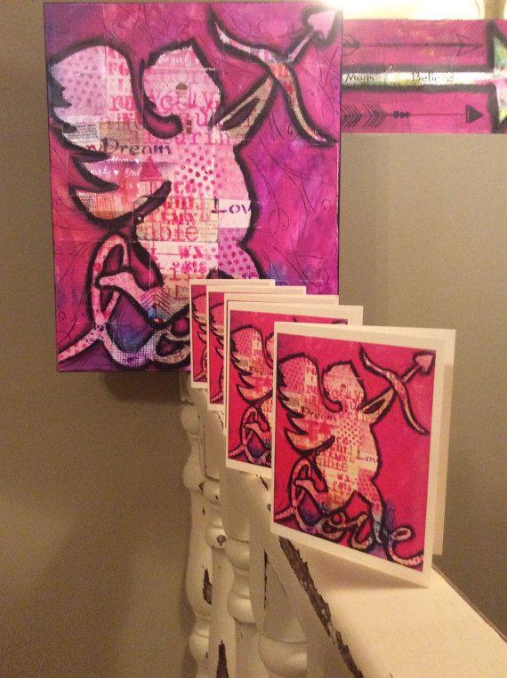 Love Cherub Card by ZazziPlannerMixMedia on Etsy