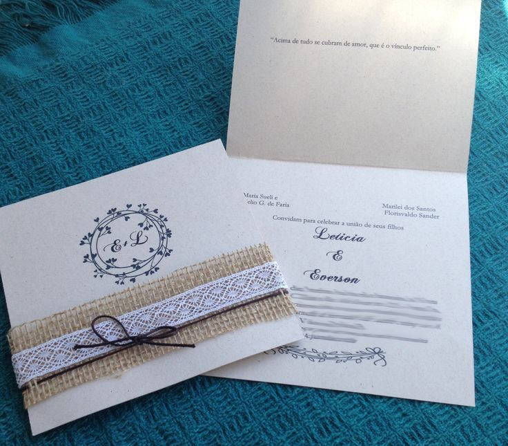 Convite de Casamento Faça Você Mesmo com Juta | http://blogdamariafernanda.com/convite-de-casamento-faca-voce-mesmo-com-juta