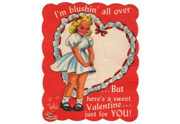 1950s Kids Lollipop Candy Holder Card, Vintage Sucker Insert Valentine Card, Valentine's Day Card, Erco Valentine Greeting, Blushing Girl