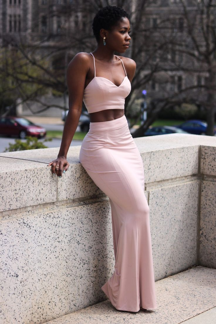 Two Piece Nude Bodycon Dress: Spring two piece styles for prom and graduation  #twopiecedress #promdress