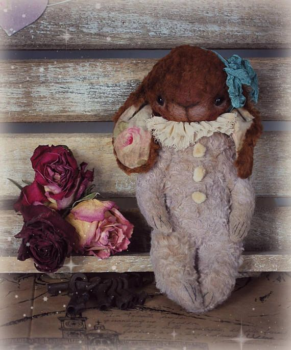 Mini :) OOAK Vintage Style Sweet Artist Bunny by Natali Sekreta -  Antique style  - stuffed - home decor - gift - Birthday - Rabbit