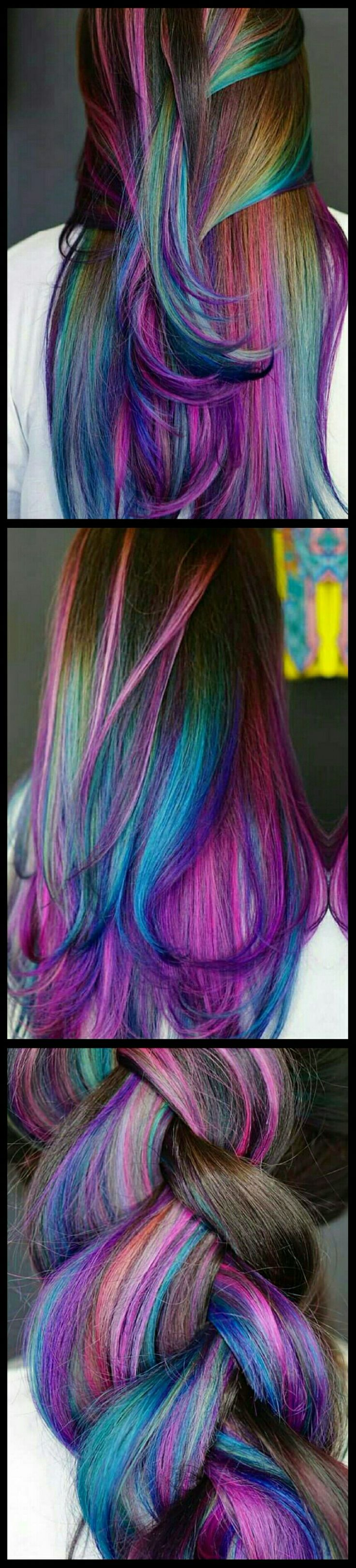 Purple blue mixed dyed hair