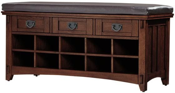 Perfect for entryway and shoe storage. There is a lighter finish but I like the dark. A little more modern.