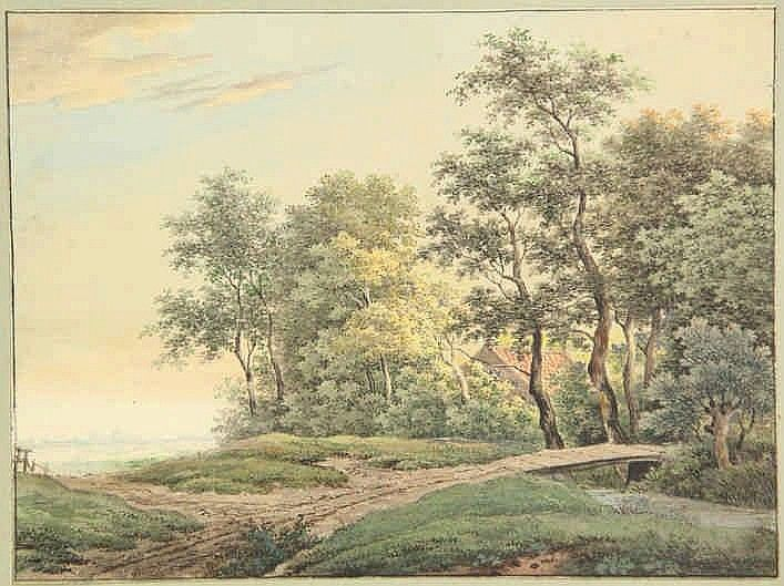 Serné, A. (1773-1853). (Landscape with country roa