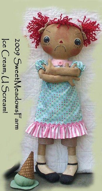 Primitive EPATTERN Raggedy Dolls and Ice Cream by SweetMeadowsFarm