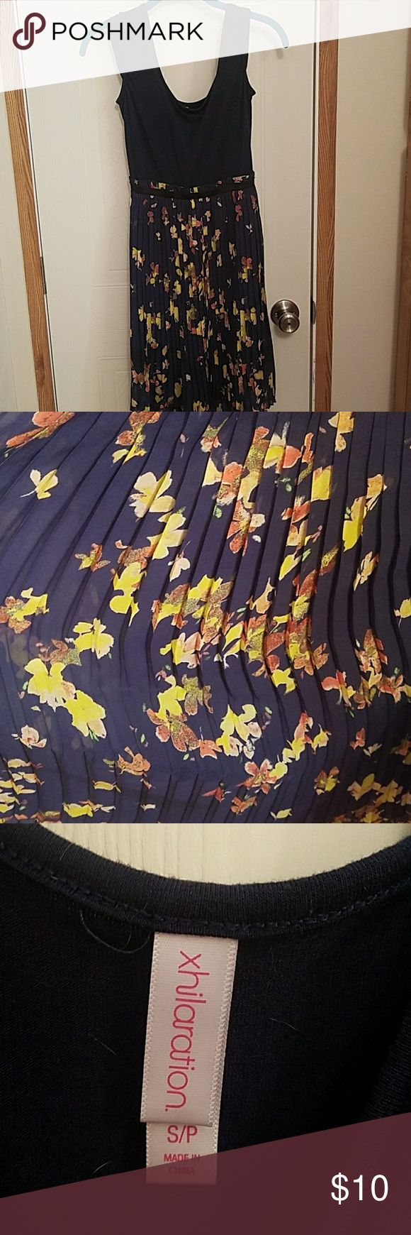 Flower Sunday dress Navy blue on top with flower print pleats on the bottom. Worn once! In great condition!! Xhilaration Dresses Midi