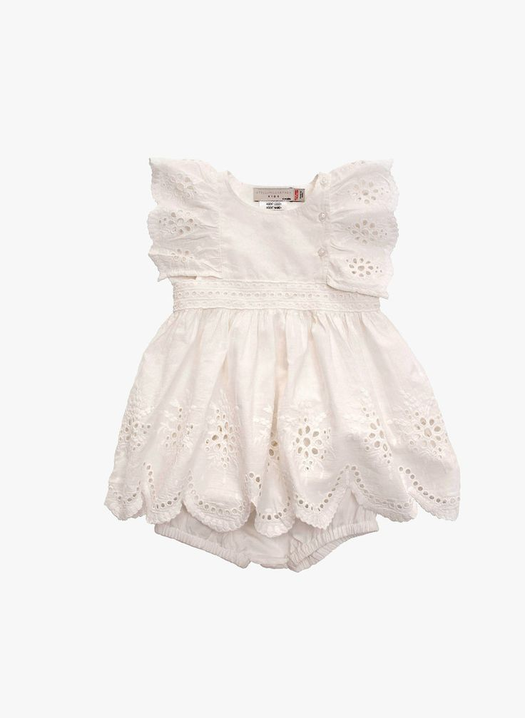 Stella McCartney Kids Foxglove Baby Girl Eyelet Dress - WHITE - PRE-ORDER