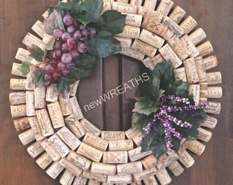 This wreath was handmade using a straw base ring with recycled wine corks. The wreath features concord and red grapes with leaves and white accent flowers.  The wreath is approximately 19 inches in diameter.  This wreath can be used indoors or in a protected outdoor area, such as a porch or somewhere away from inclement weather.  For Virginia residents, VA Sales Tax (5.3%) calculated at checkout.  Local pickup available. Please contact me prior to purchase regarding the shipping charges…