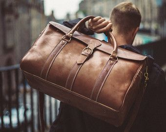 Leather Duffle Bag Men's Overnight Bag Leather от BennyBeeLeather