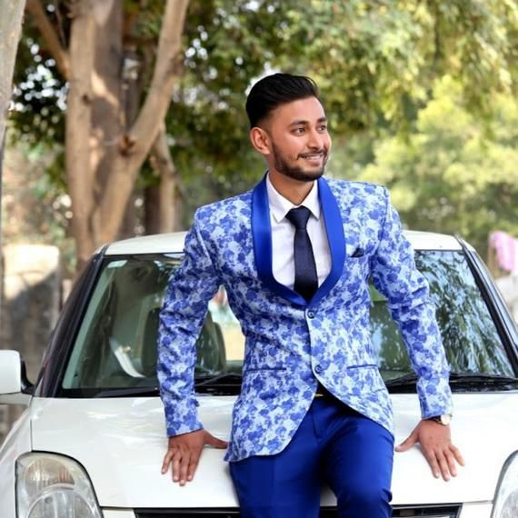 ee0de1d83dc Men's suit /blazer /coat wedding groom prom bespoke blue floral print  exclusive 3 piece suit coat pant shirt with Tie -size 36 -best fabric