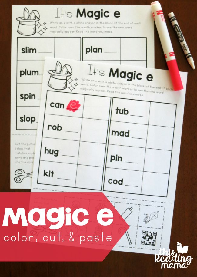 "Today, I'm sharing some fun pages for teaching Magic e words. You may have seen the white crayon trick where you can color or paint over it to ""magically"" reveal a hidden word {see my sight word example}. Well, we're doing that with ""magic e"" today! If you're looking for even more silent e/magic e activities for …"
