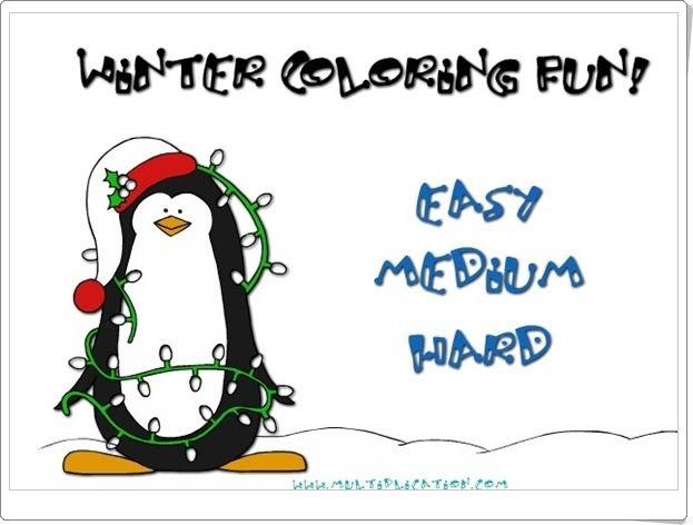 """""""Winter coloring fun!"""", de multiplication.com, es un juego en el que para colorear el paisaje de invierno es necesario abrir los candados de los colores contestando a cuestiones de la tabla de multiplicar."""
