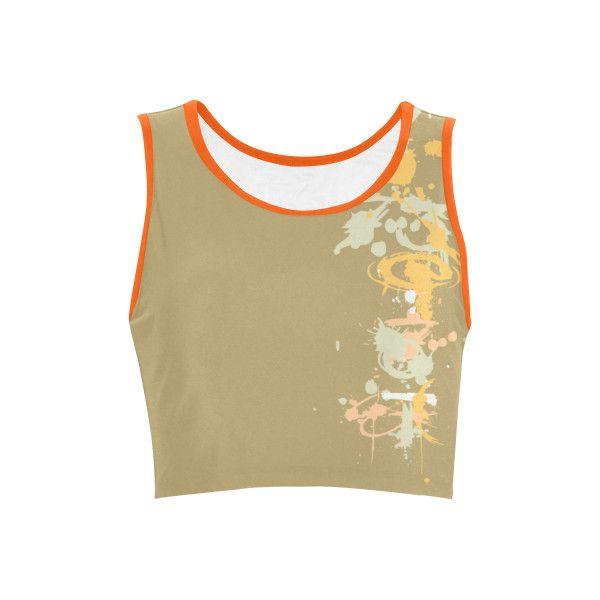 Paint splatters 73 beige peach iii VAS2 Women's Reversible Sports Bra ($12) ❤ liked on Polyvore featuring activewear, sports bras and beige sports bra