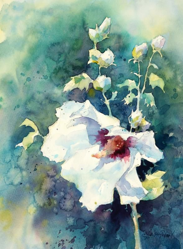 Julie Gilbert Pollard How To Paint A White Flower In Watercolor