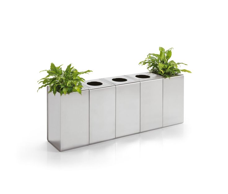 Innovative and elegant system of containers, formed by umbrella stand for ordinary or folding umbrellas, ashtray, waste paper basket and flower box,..