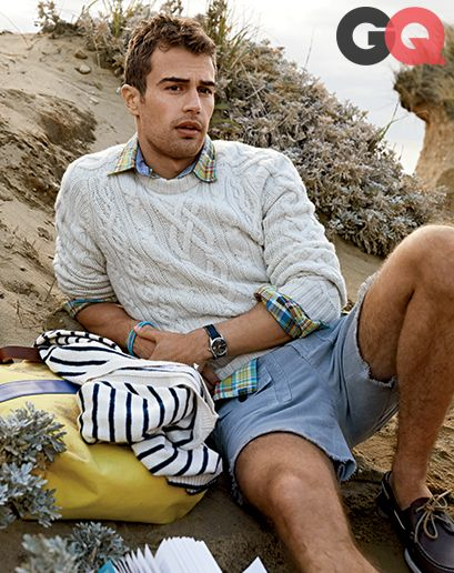 Preppy Looks for Spring 2014 | The classic navy look. A fisherman sweater, shorts, stripes and plaid shirt.