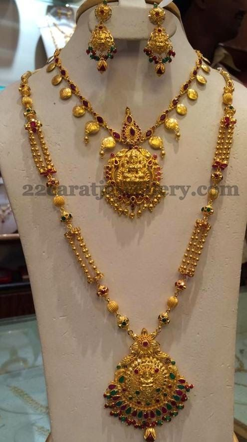 Jewellery Designs Simple Necklace And Long Set Gold
