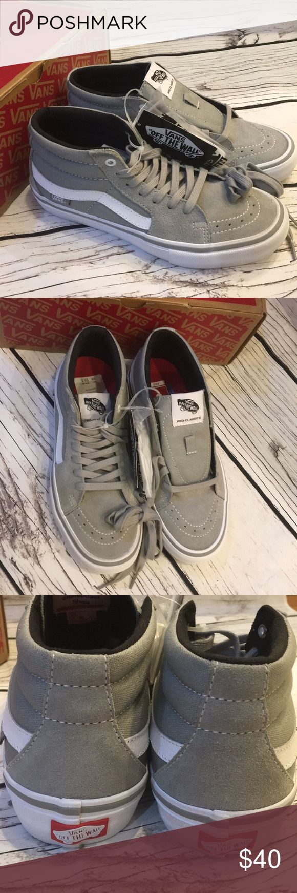 VANS SK8 Mid Pro Drizzle Gray Ankle Shoes 6.5 New In Box Retails: $75 Comes with extra laces Size 6.5 Men Vans Shoes Athletic Shoes