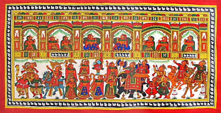 Indian Religious Festival (Phad Painting on Cloth - Unframed))