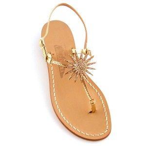 Eliana - Il più solare dei sandali Canfora: infradito con sottili listelli dorati decorato da un medaglione centrale che ricorda un sole stilizzato con un tripudio di strass.