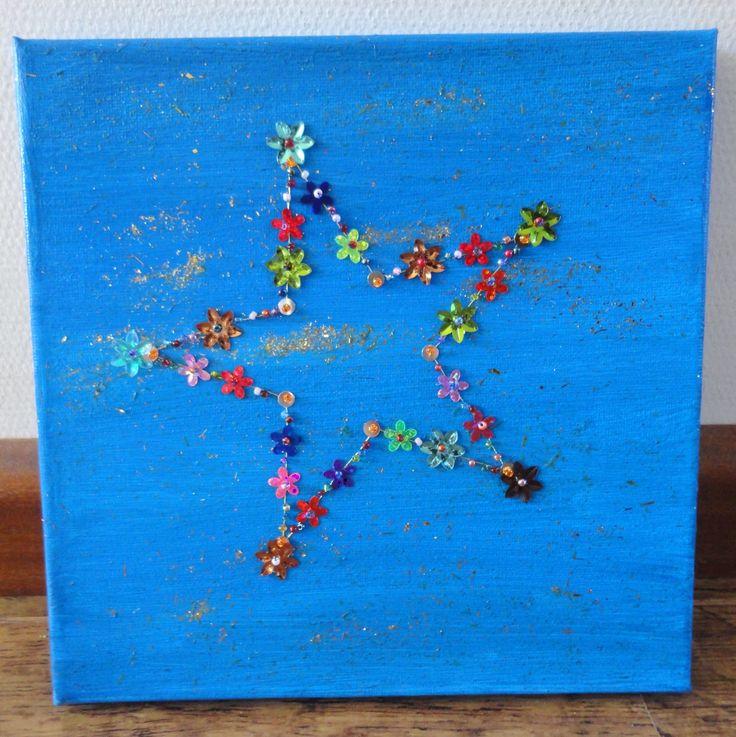 canvas in gewenste kleur schilderen, ster overtrekken en de lijn met kraaltjes, pailletjes en dergelijke 'borduren', eventueel glitters toevoegen.