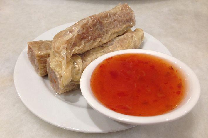 Vegetarian Fu Chook rolls.