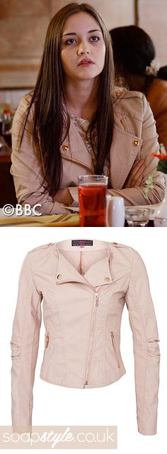 EastEnders Lauren Branning // Jacqueline Jossa // Lauren's Blush Pink Biker Jacket - June '13 [ Click photo for jacket details ▸▸ ]