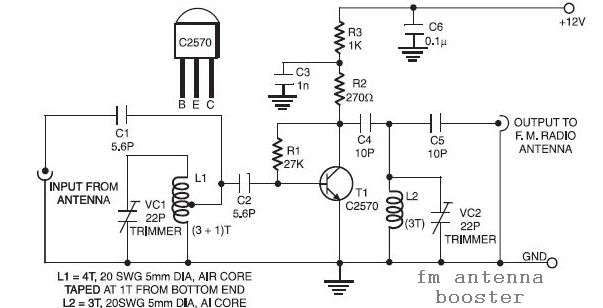 Fm Antenna Booster Circuit Antenna Electronic Schematics