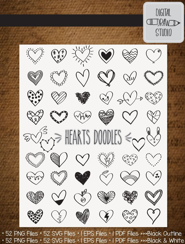 52 Hearts Outline Clip Art Hand Drawn Romance Vector