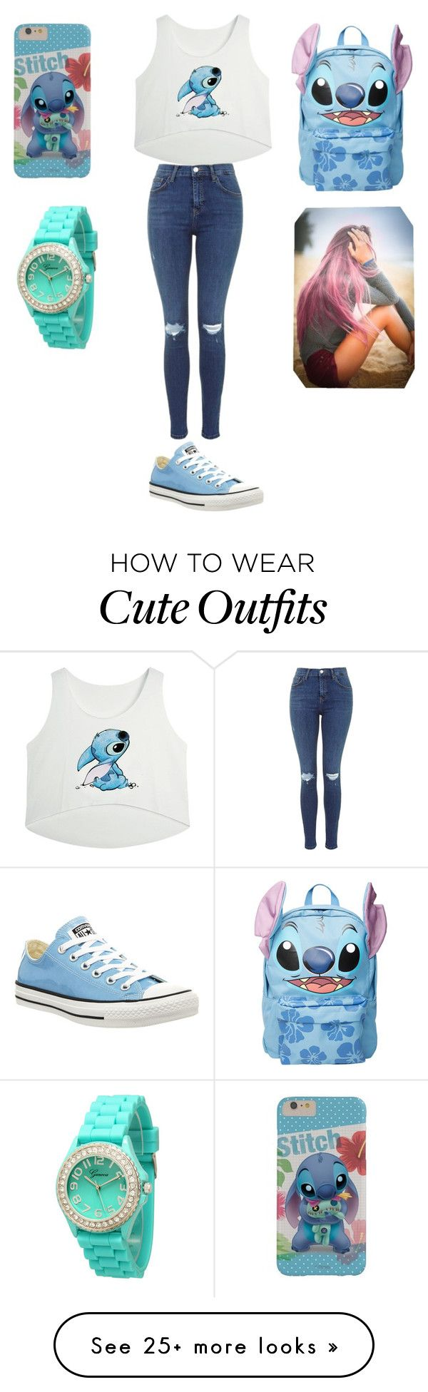 """""""stitch outfit"""" by ashlynnthetaco on Polyvore featuring Converse, Disney and Geneva"""