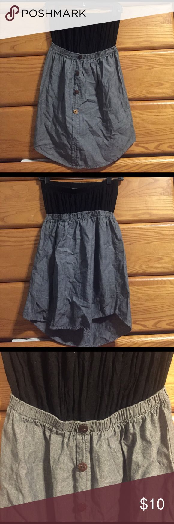 Strapless black and denim dress Super cute strapless dress with black cotton top, elastic waistband, and button down denim body Dresses Strapless