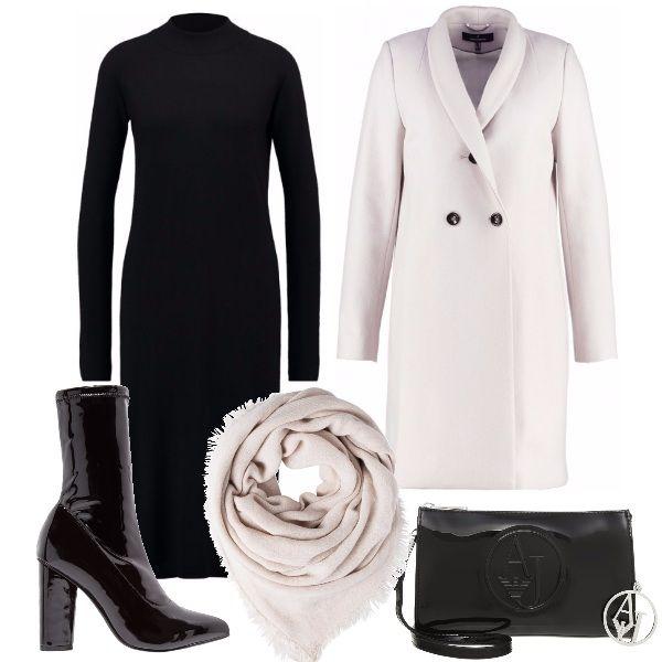 Per questo outfit: vestito nero manica lunga, con collo alla coreana, cappottino color gesso dal taglio classico, stivaletto in vernice nera con tacco largo, tracolla Armani Jeans in vernice, foulard che riprende il colore del cappotto.