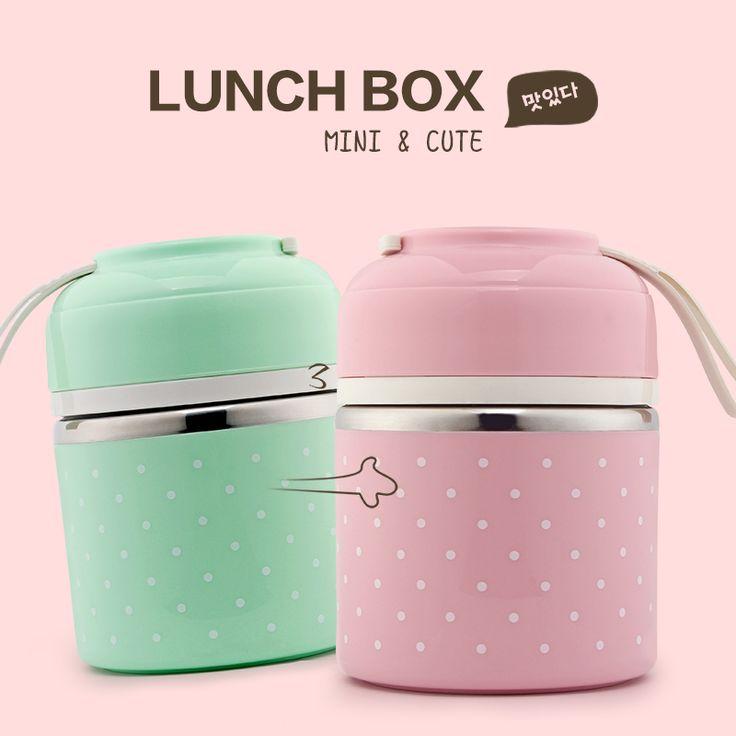 Portable Lindo Mini Japonés Bento Caja de Almuerzo del Acero Inoxidable A Prueba de Fugas de Aislamiento Térmico Caja de Fruta De Almacenamiento Para Los Niños de Picnic