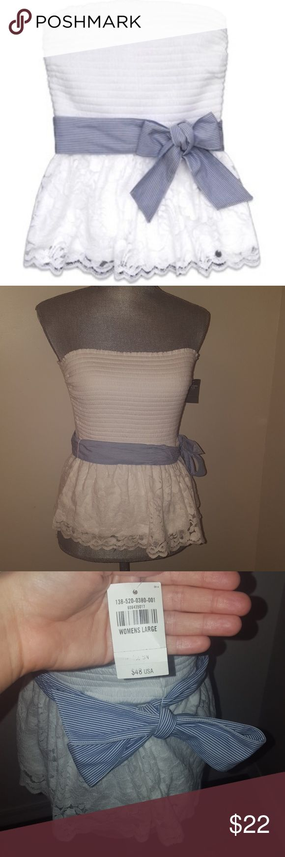 Abercrombie and Fitch lace strapless shirt! Adorable A&F white lace strapless shirt, with blue and white strip belt. Brand New, with tags. Perfect with navy shorts for this summer! Abercrombie & Fitch Tops Tank Tops