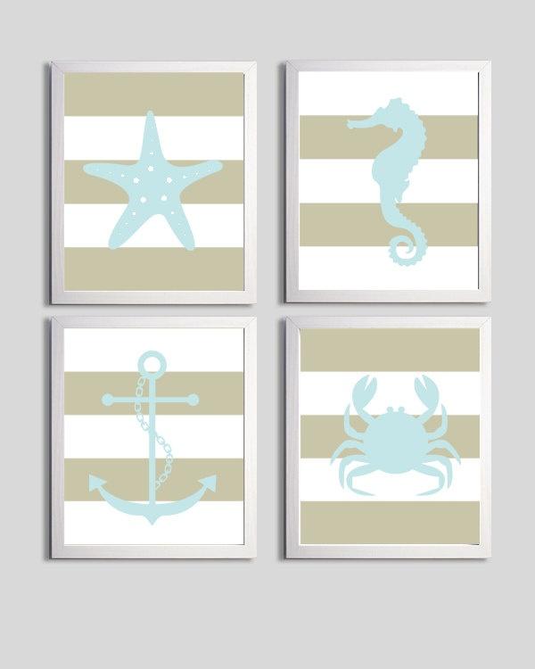 Nursery Art Stripes Nautical Beach Ocean Sea Khaki Blue more colors available set of 4 each 11x14. $56.00, via Etsy.