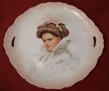 Victorian Girl Portrait Charger Plate Winter Pink Handpainted Signed LOVELY!