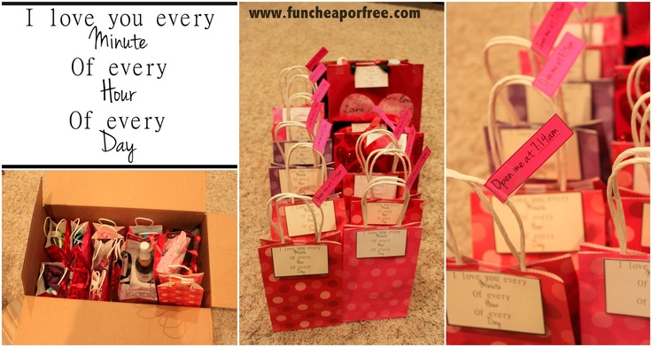 """""""I love you every minute of every hour of every day"""" gifts - one gift per hour. Set an alarm in their phone to remind them to open it! Fun surprises for them throughout the day. Great for anniversaries, Father's/Mother's day, or Vday. Pin for next year!"""