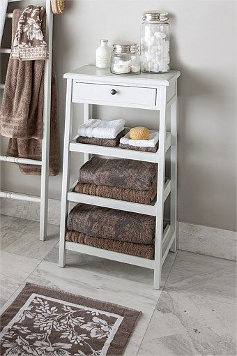 $129 Ezibuy. Furniture Collection - Ascot Bathroom Storage Shelf This might fit under your towel rack so you'd have half the rack for your towel and then this for luscious bathroom smellies and goodies
