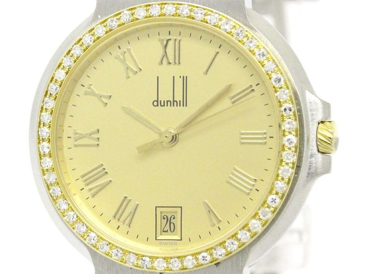 Polished #DUNHILL Elite Diamond 18K Gold Steel Quartz Unisex Watch (BF105777): #eLADY global offers free shipping worldwide. For more pre-owned luxury brand items, visit http://global.elady.com