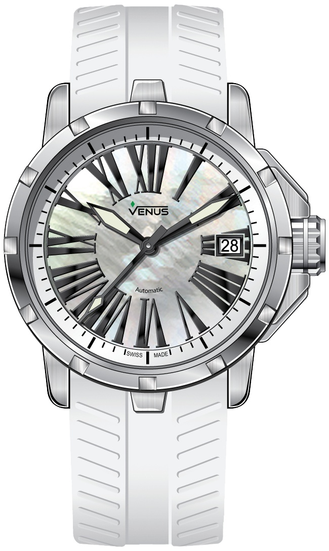 Transparent case back with sapphire crystal secured by 6 screws / Automatic Time-Date