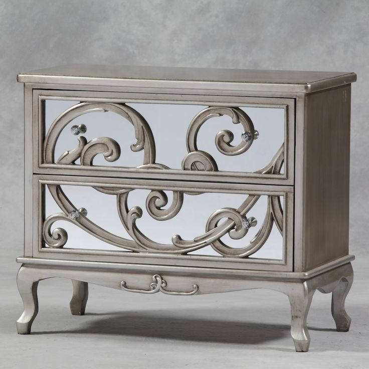 Luxury And Antique Silver Mirror Fronted Rococo Large Chest Of Drawers Bedroom Furniture